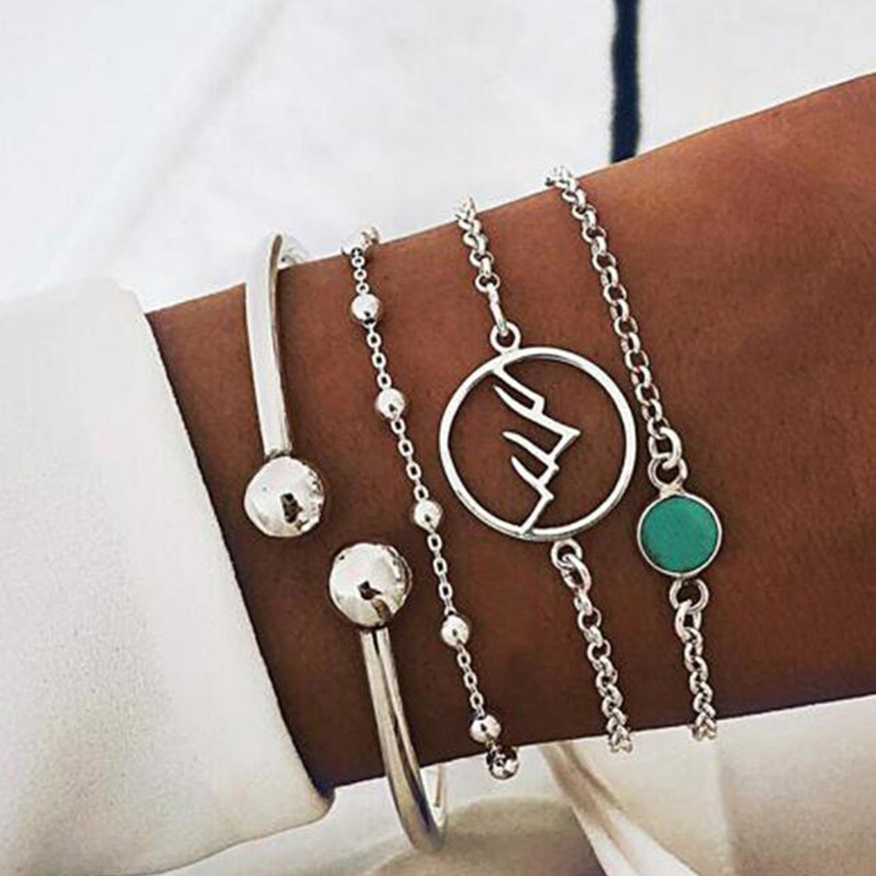 4 Pcs/Set Geometric Round Mountain Range Charm Bracelet for Women Simple Silver Link Chain Braclets Femme Set Pcs
