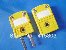 Conector de termopar tipo OMEGA tipo KC miniatura macho y hembra de Color amarillo conector de termopar de clavija plana