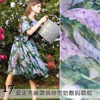 17 summer thin and elegant silk chiffon printing fabrics hydrangea silk digital dress fabric fashion silk cloth wholesale