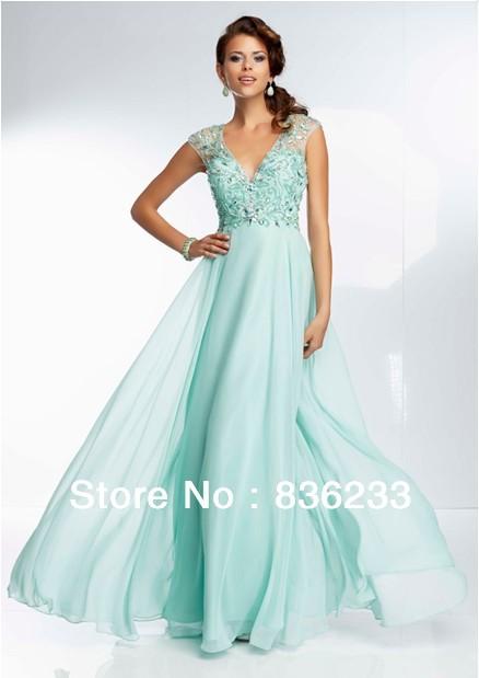 2014 New Stunning Mint A Line V Neck Cap Sleeve Prom Dresses Chiffon ...