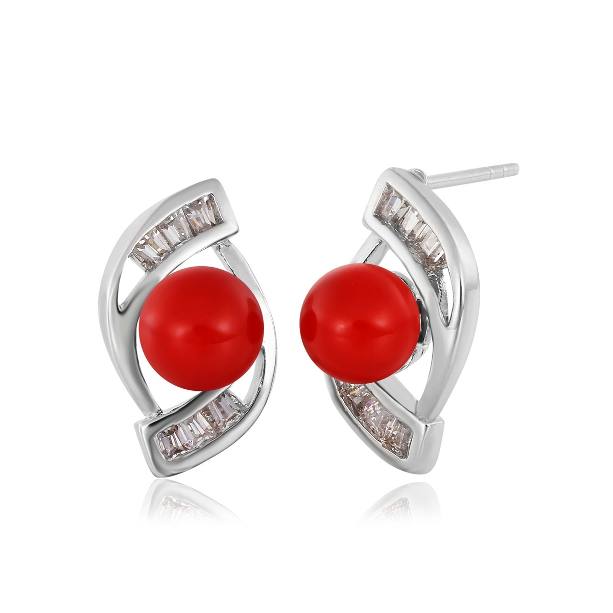 red earrings rose in glazed ring gold jewellery style