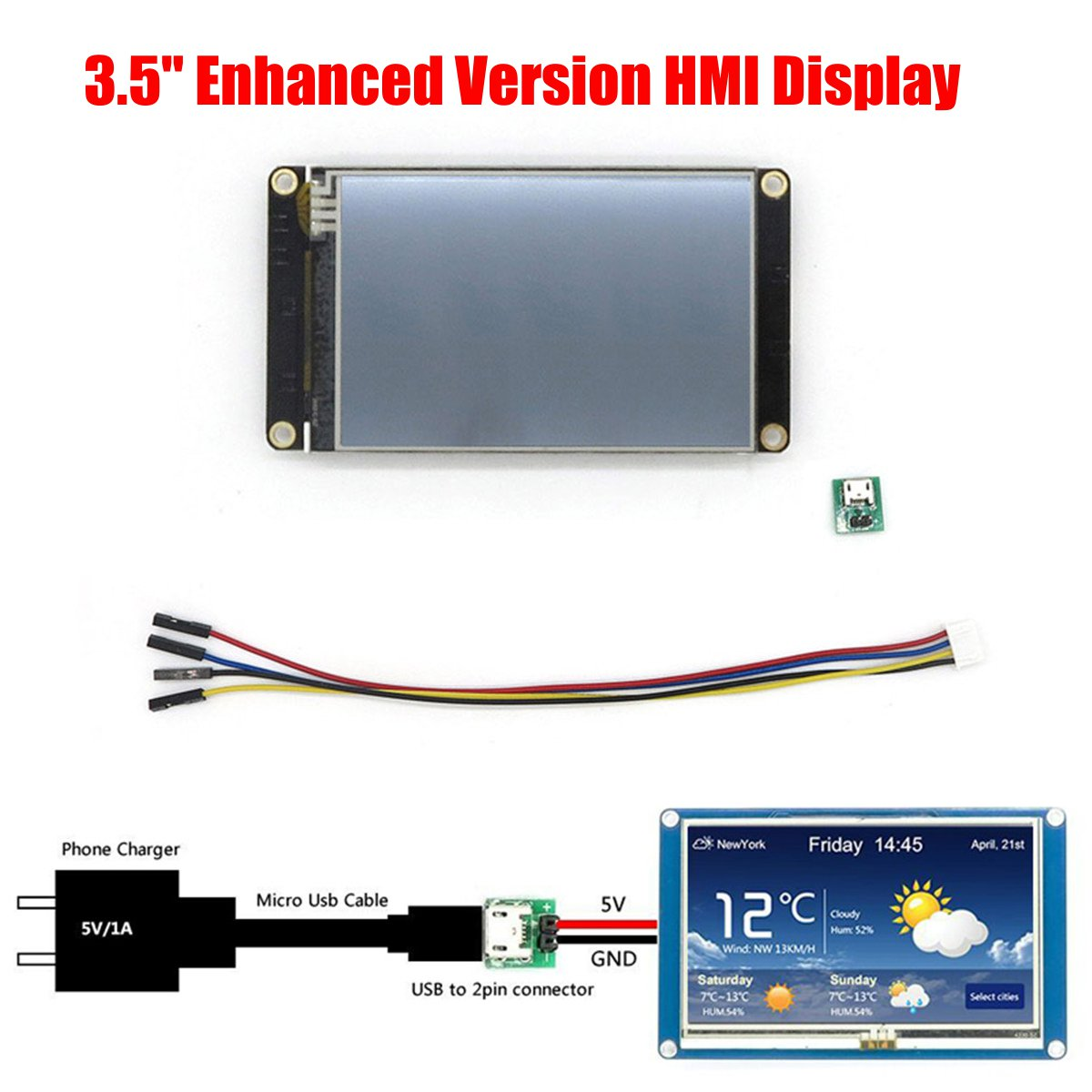 3.5 Inch Nextion Enhanced HMI Intelligent Smart USART UART Serial Tou Ch TFT  LCD NX4832K035 Test Board LCD Module Display Panel