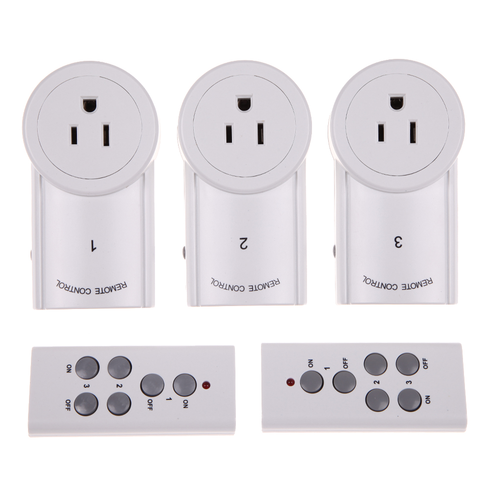 3 Pack Wireless Remote Control Power Outlet Switches Plug w/ 2 remotes Free Ship