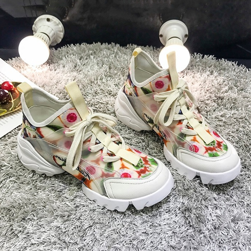 Women Chunky Sneakers Fashion Flowers Summer Ladies Platform Shoes Breathable Lace-up White Women's Vulcanized shoes R196w