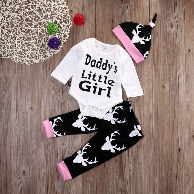 2910e7cdc4944 Newborn Baby Girls Printed Daddy's Little Girl Top Romper +Long Pants Hat Outfits  Baby Girls Clothes Sets 0-18 Months