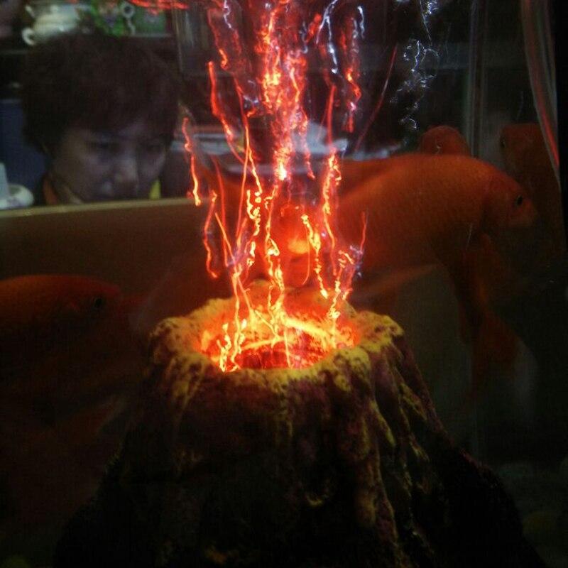 Aquarium Air Drive Led Decoration Resin Volcano Fish Tank