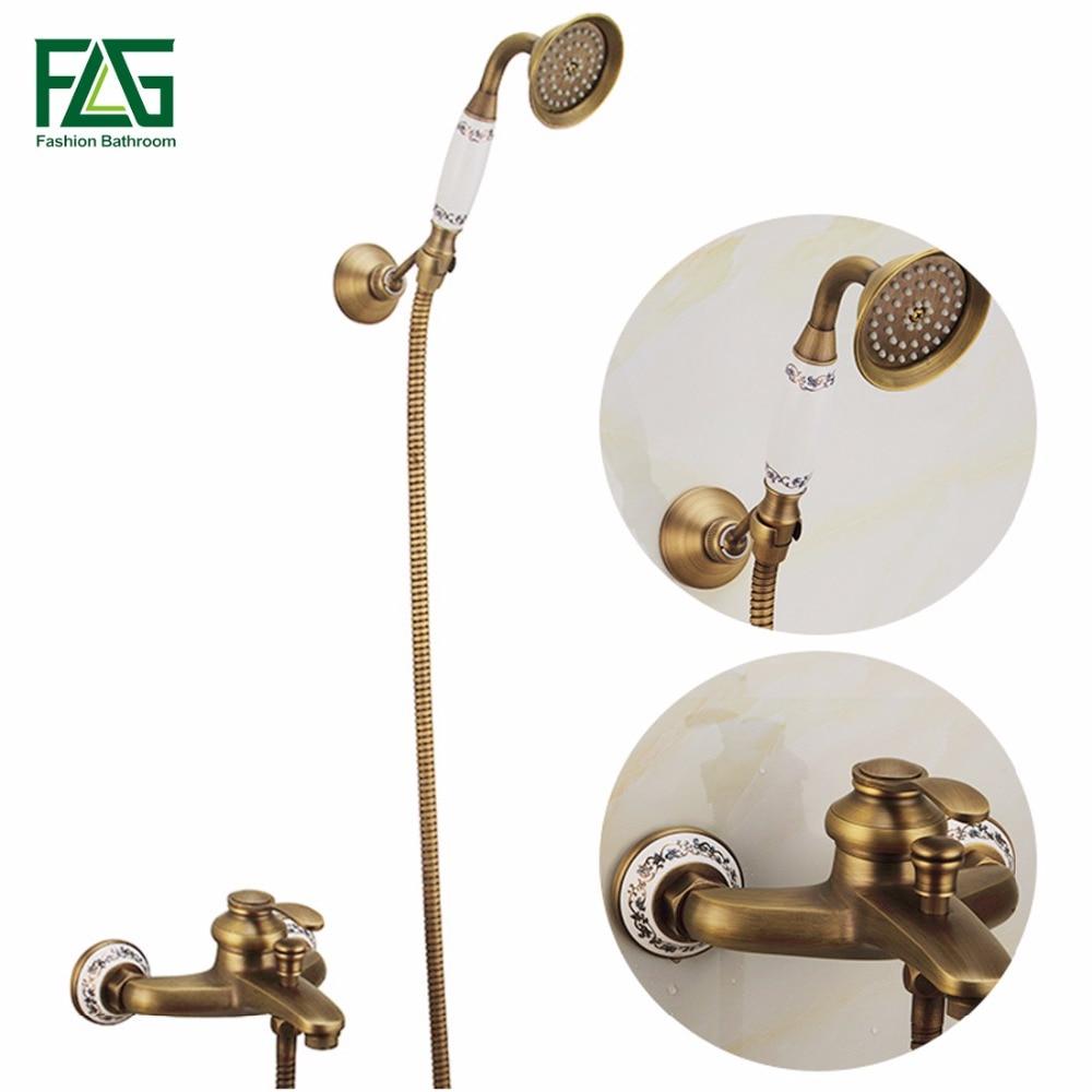 FLG Antique Brass Bathroom Bath Faucet Wall Mounted Hand Held Shower Head Kit Shower Faucet Sets
