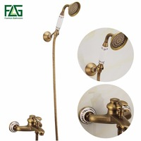 FLG Antique Brass Bathroom Bath Faucet Wall Mounted Hand Held Shower Head Kit Shower Faucet Sets AESHS136