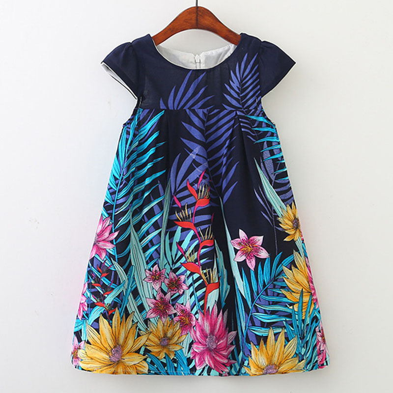 Girsl-Costume 2019 Floral Child Summer time Attire Trend Youngsters's Cloting Occasion Frock Classic Quick-Sleeve Children Costume 3-8Y Items