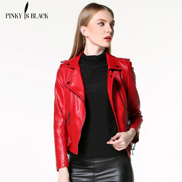 2016 autumn and winter women clothing short slim motorcycle leather jacket women outerwear red color casual female jacket