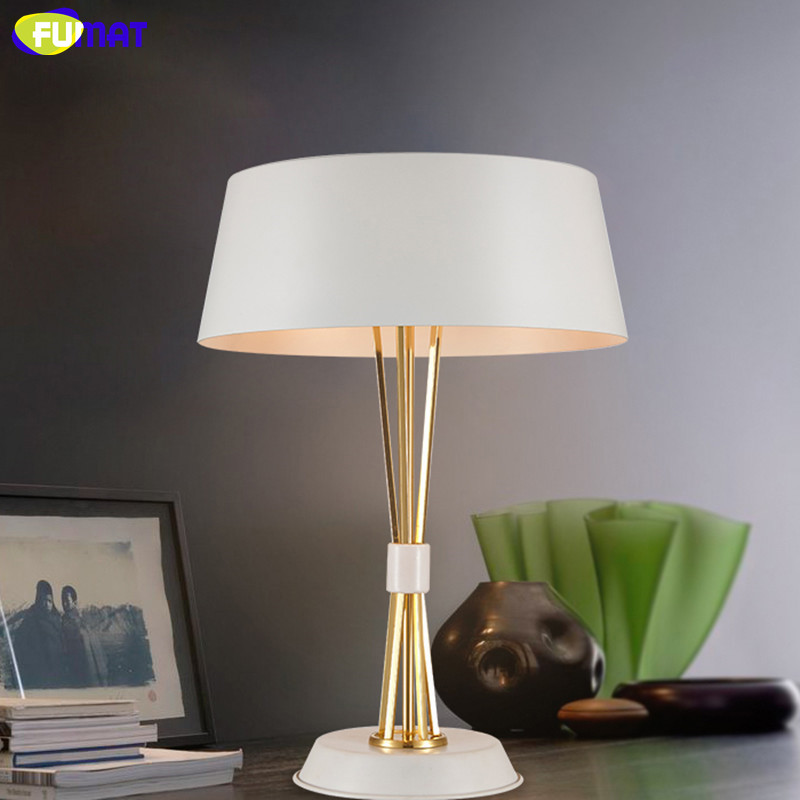 FUMAT Metal Table Lamps Modern Designer Study Desk Lamp Bedroom Bedside Light Creative Fashion White Black Iron Table Light