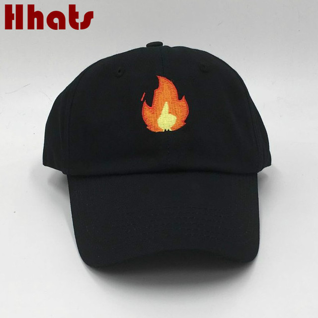 d1c1c7b5c48 which in shower stitched Unstructured flame baseball cap embroidery women  men curved snapback dad hat summer fire emoji sun bone