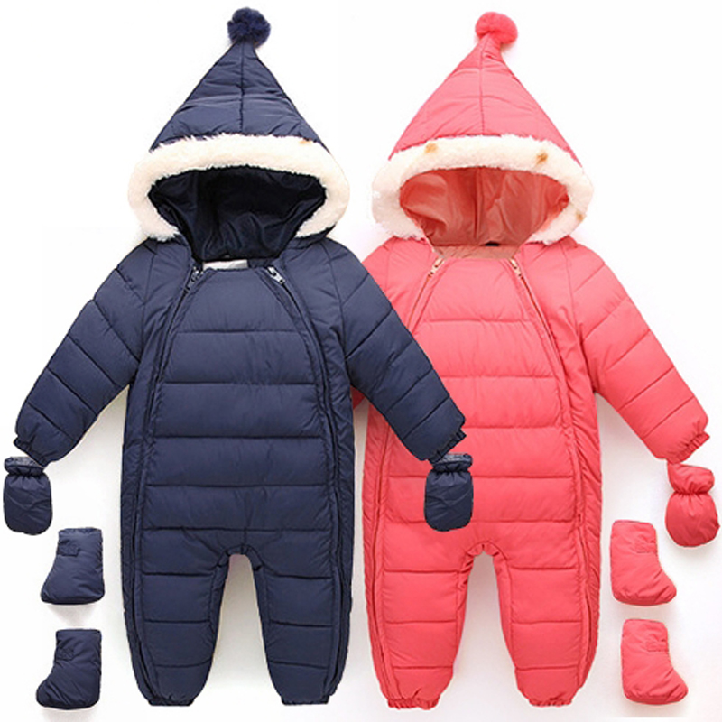 Baby Snowsuits Hooded Jumpsuit Down Cotton Boys Girls Coats Kids Clothes Infantil Thick Rompers Outerwear Double Zipper Overalls 2 pcs lot newborn baby girls clothing set cute pink cotton baby rompers boys jumpsuit roupas de infantil overalls coveralls