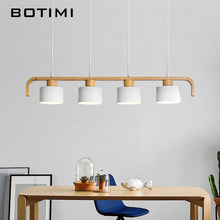 BOTIMI Modern LED Pendant Lights With Metal Lampshade For Dining Wooden Hanging Lamp E27 Wood Kitchen Luminaire(China)