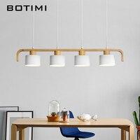 Botimi современные светодиодный подвесной светильник с металлическим абажуром для столовой деревянный подвесной светильник E27 деревянный ку
