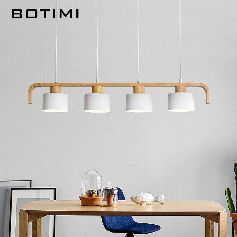 Botimi современный светодио дный подвесные светильники с металлической абажур для столовой деревянный подвесной светильник E27 дерево Кухня с...