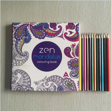 12 Color Pencils +English Edition 128 Pages Mandalas Coloring Book For Adults Children Relieve Stress Kill Time Secret Garden