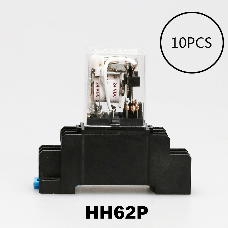 10PCS Coil Power Relay LY2NJ DC12V/DC24V/DC110V/AC220V Miniature Relay DPDT 8 Pins LY2 HH62P LY2 JQX-13F WITH BASE free shipping elecall 10pcs lot jqx 15f 1z dc48v miniature electromagnetic relay no 30a nc 20a 240vdc 28vdc 48vdc power relay