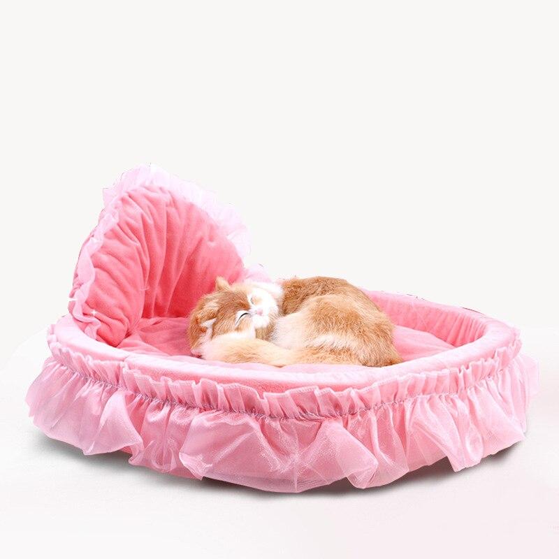 Cute Lace Princess Dog Basket Bed Cat Puppy Pet Beds Pet Dream Nest Pet Kennel Cat Dog Beds Luxury Cat Sofa Dog Bed Bichon