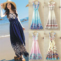 Bohemian Casual Women Summer Maxi Dresses Sleeveless Floral Print Chiffon A-Line Long Beach Dress Vestido De Praia