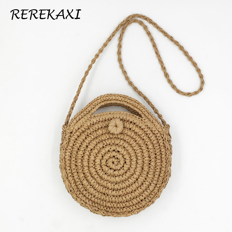 REREKAXI Handmade Rattan Woven Round Lady's Handbag Straw Knit Summer Beach Bag Woman Shoulder Messenger Bag Khaki Beige Tote