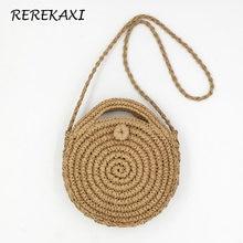 8e578c28f1 REREKAXI fait à la main en rotin tissé rond sac à main pour femmes en  tricot de paille été sac de plage femme sac à bandoulière .