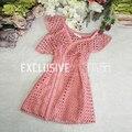 2017 Взлетно-Посадочной Полосы Дизайнер Новый Летний Розовый Dress женская Сексуальная Асимметричный С Плеча Выдалбливают Mini Dress Princess Dress