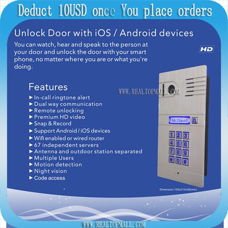 Wireless WiFi 4G Video Door Phone with HD Camera,IP DoorPhone Door bell Remote Control Doorbell via Smartphone&Tablets DHL цена