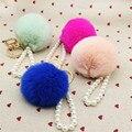 Gold Rabbit Ball Fur Keychain Fur Pom Pom Keychain Fluffy Keychain Key Ring Pearl Pendant Chaveiro Key Holder For Bag As Gift