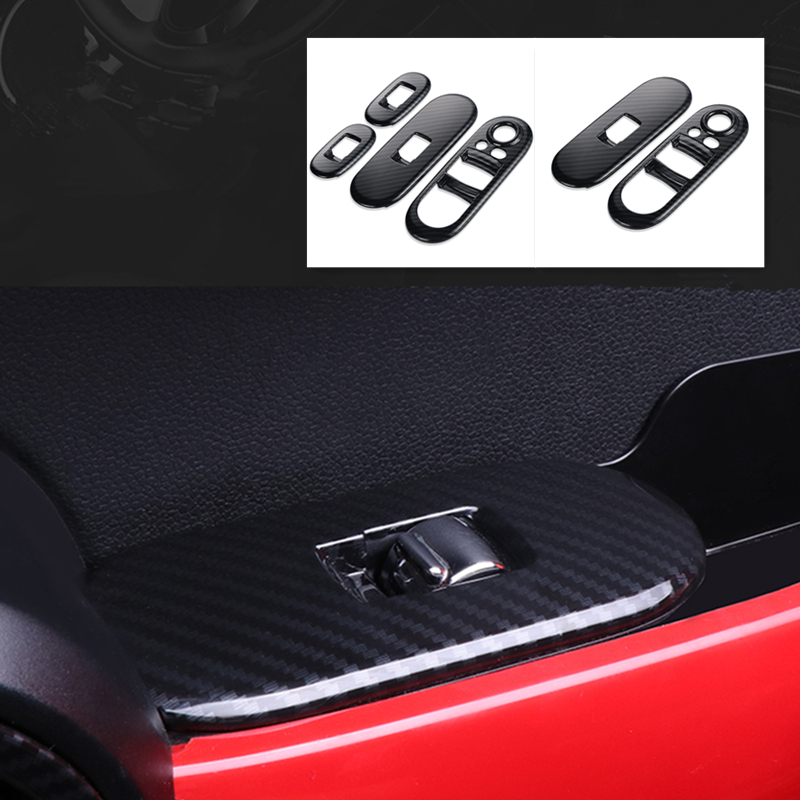 Door Window Control Covers Carbon Fiber Lifter Switch Interior Mouldings Handrail Cover Sticker Case For Mini Cooper F55 F56