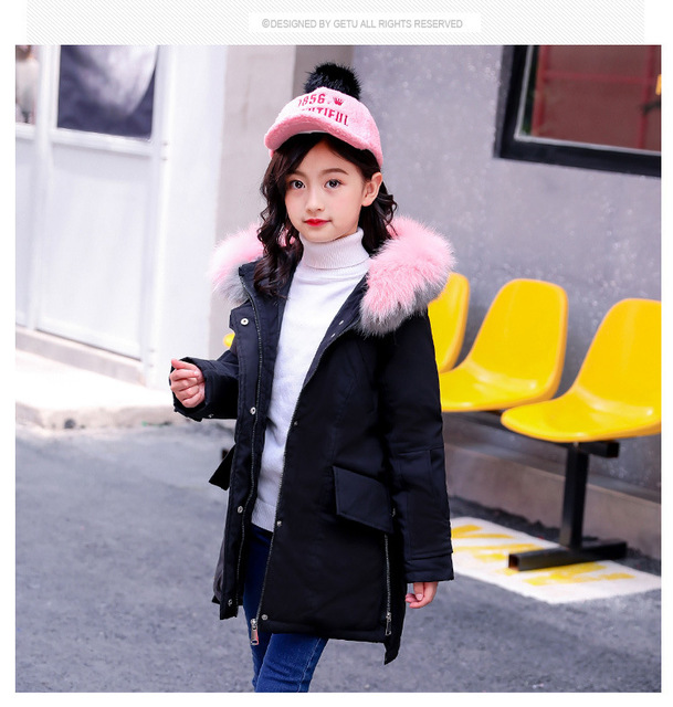 0bd1d7d485b 2019 Fashion Fur Hood Jacket for Girls Children Snow Wear Parka Thick Down  Coats Winter Jacket Children Christma Winter Coat