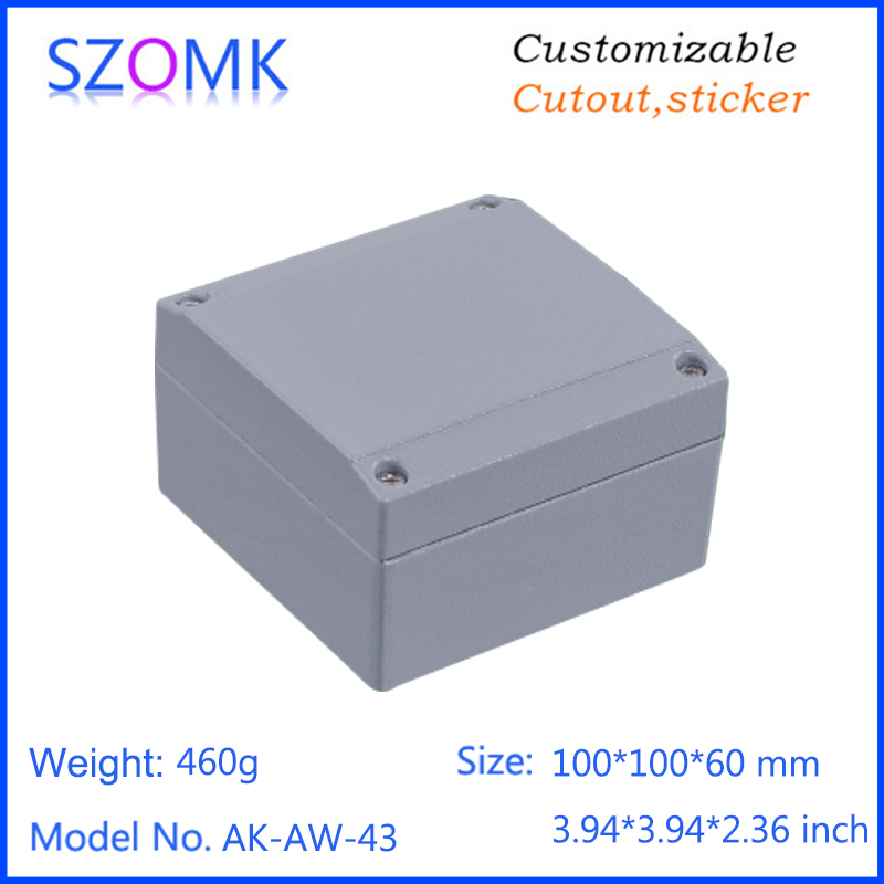 1 piece, 100*100*60mm szomk amplifier die casting aluminium waterproof enclosure for pcb design electrical project box 1 piece szomk power supply brushed aluminium enclosure housing black project box in black color for pcb 50 178 200mm