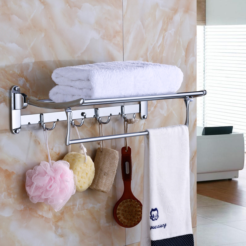 AUSWIND 304 Stainless Steel Bath Towel Rack Active Bathroom Towel Holder Double Towel Shelf with Hooks Bathroom Accessories Sj53 nail free foldable antique brass bath towel rack active bathroom towel holder double towel shelf with hooks bathroom accessories