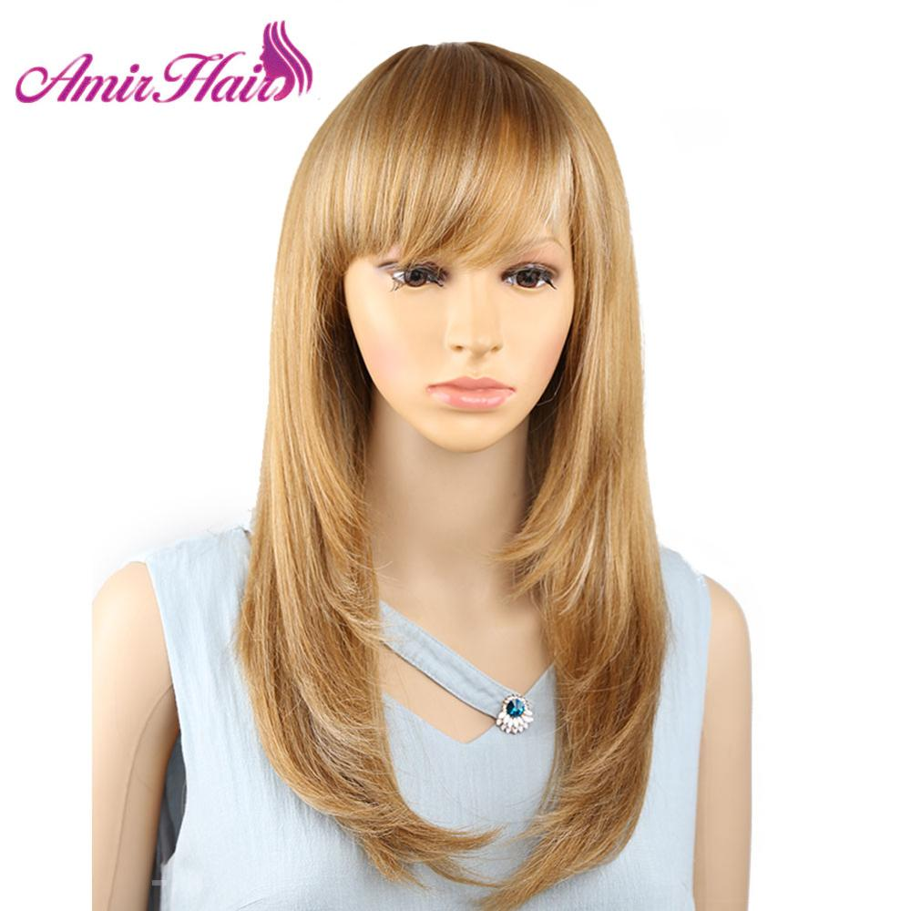 Amir Long Straight Synthetic Wig Ombre White Mixed Blonde With Bangs For American African Women Heat Resistant Cosplay 18 Inch