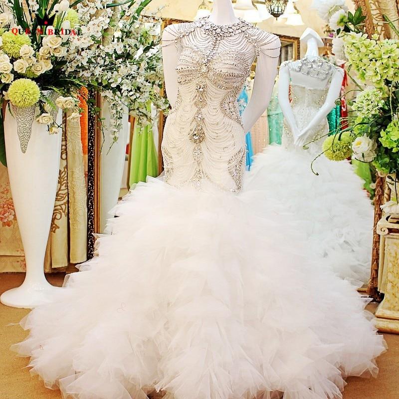 Mermaid Sweetheart Bridal Gowns Sexy Luxury Crystal Diamond Wedding Dresses Wedding Gowns Vestido De Noiva Custom Made QB12