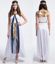 New Greece Egyptian Princess Cleopatra Queen Halloween Adult Cosplay Women Sexy Party Carnival Long Dresses + Head Accessories