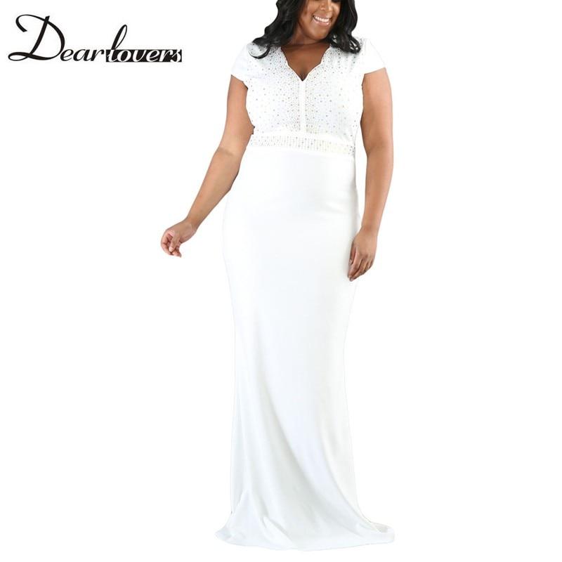 Dear lover Women Plus Size Spandex Dress Black Rhinestone Front Bodice  Scalloped Neckline Short Sleeve Maxi Dresses LC61376-in Dresses from Women s  Clothing ... d9492541b045