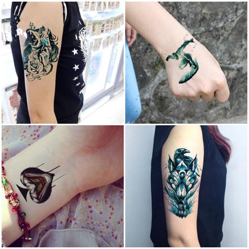 KESMALL 5PC Temporary Tattoo Stickers Body Art Halloween Women Gun Watch Arm Wrist Tatoos Sticker Waterproof Fake Tattoos CO567