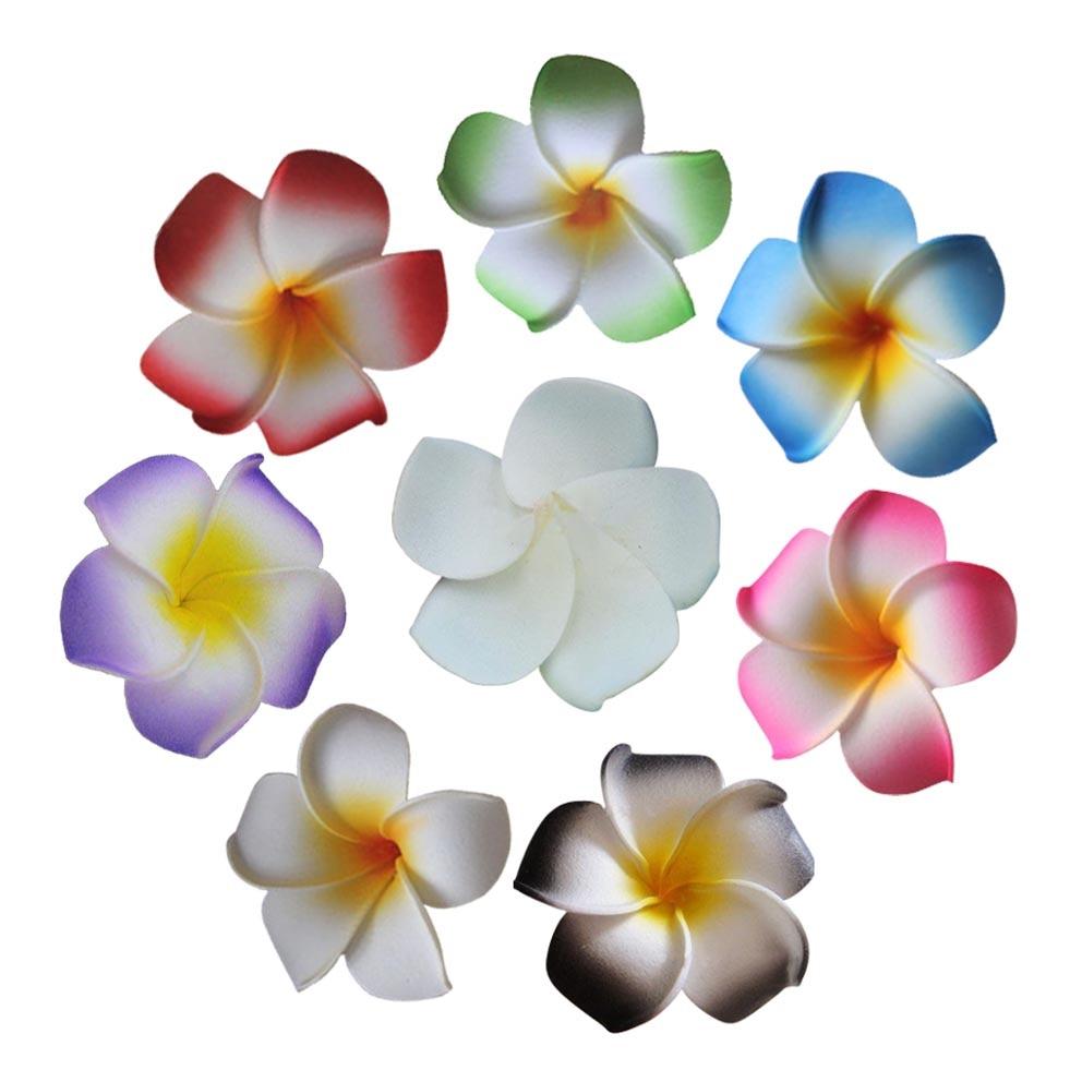 100PCS,4CM Multicolor Fake Frangipani Artificial Foam Hawaiian Plumeria Flower Heads,Wedding Party Decorations,DIY Hair Clips
