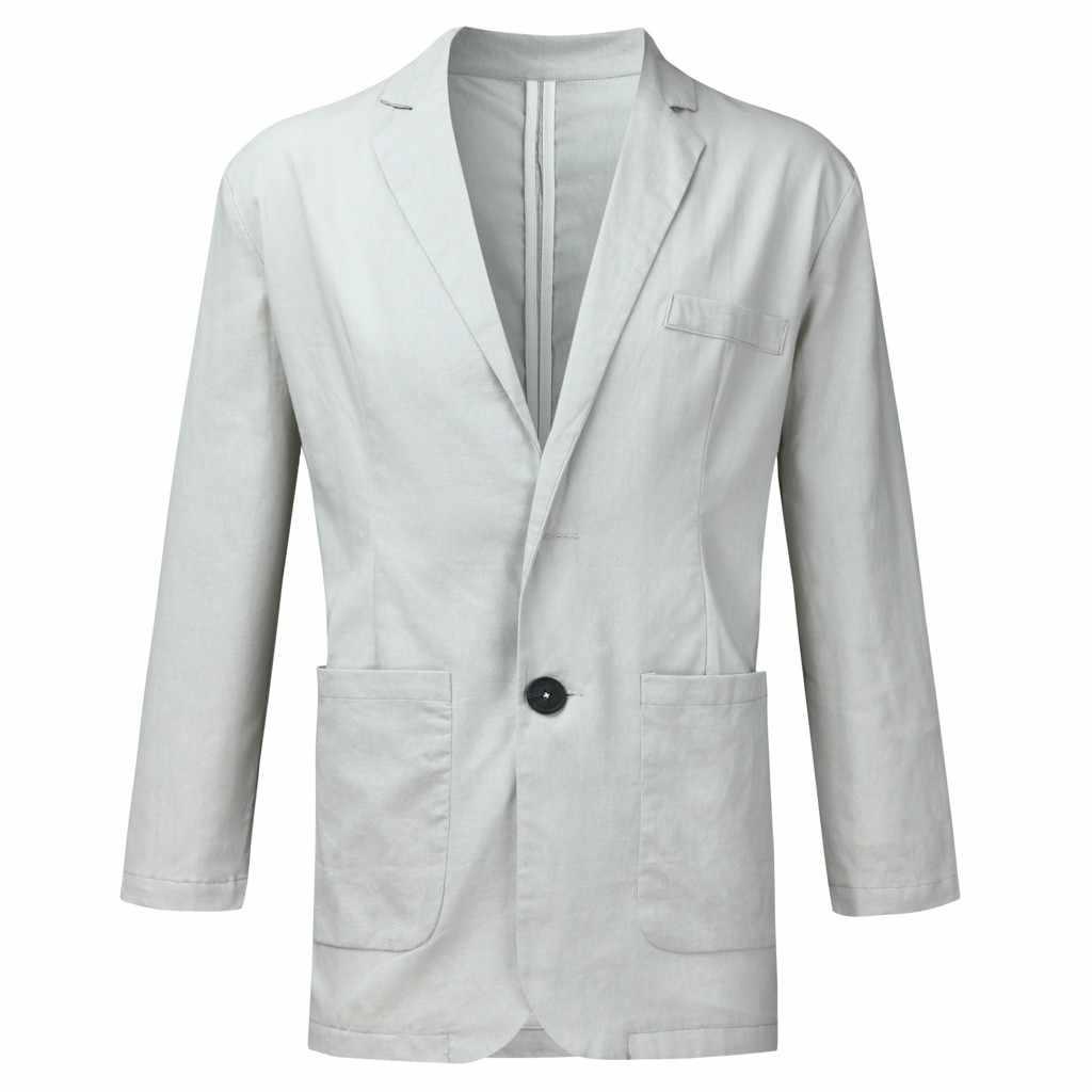 Jaycosin男性ブレザー 2019 ファッションスリム薄型フィットリネンブレンドポケット長袖スーツブレザージャケット生き抜くブレザーmasculino 9719