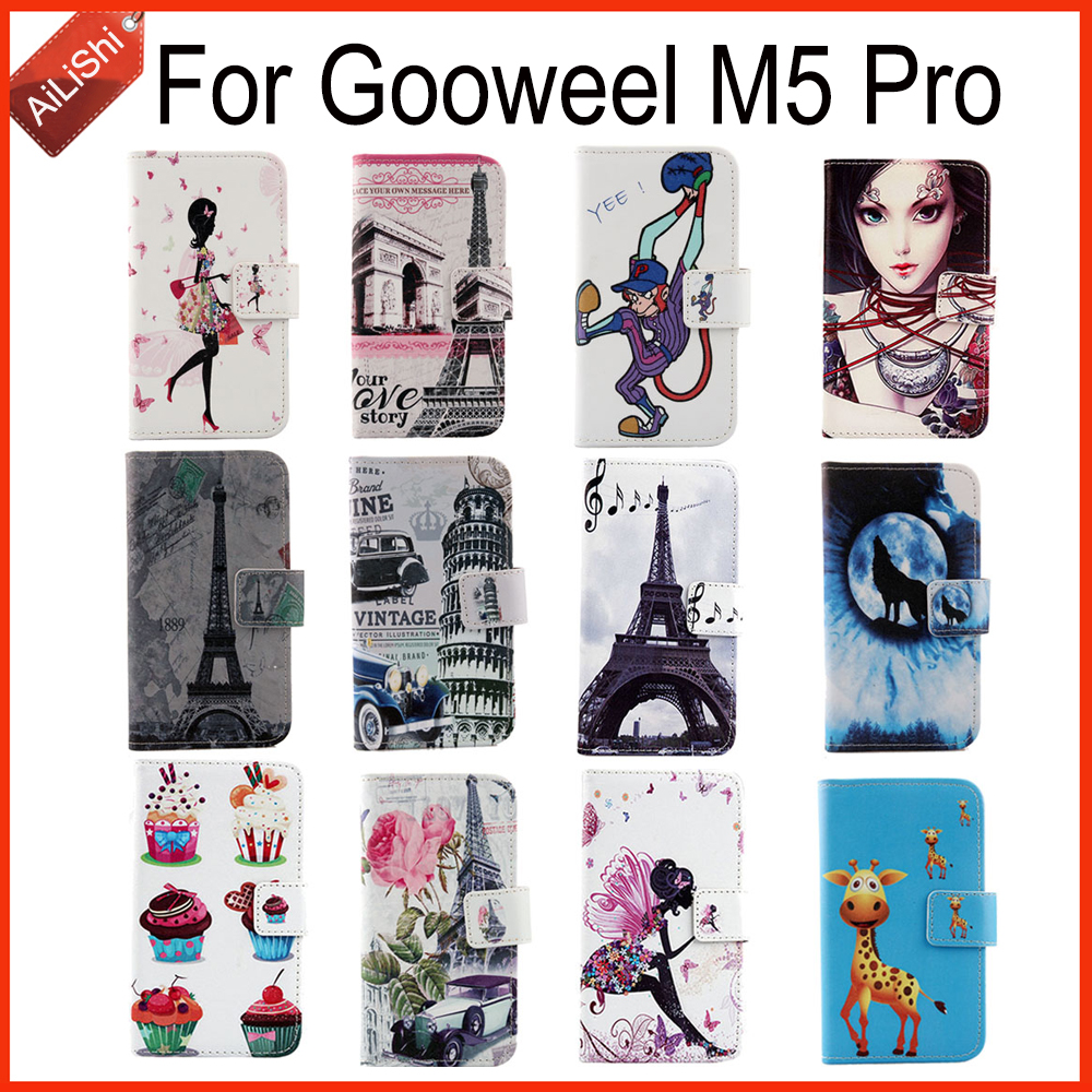 In Stock For Gooweel M5 Pro Hot Sale PU Cartoon Leather Case Book-Style Flip Patterns Painted Cover Skin Free Shipping