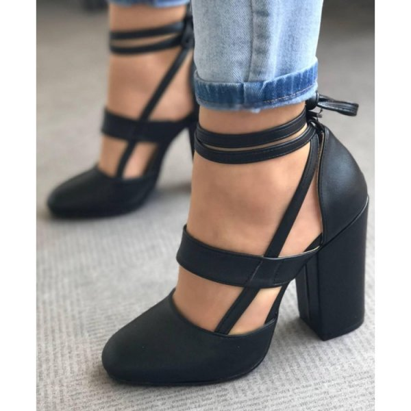 women wedding shoes woman pumps thick high heels ankle strap ladies gladiator Zapatos Mujer sapato feminine chaussure WM17973 taoffen size 28 52 women pumps pointed toe ladies shoes woman buckle ankle strap high heels zapatos mujer footwear pa00908