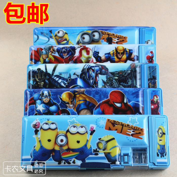 A Plastic Two-sided Stationery Case - Shaw Turn Pettifoggery Box Daddy, random Transformers Pencil Set 25mm badge making transformers маска bumblebee c1331