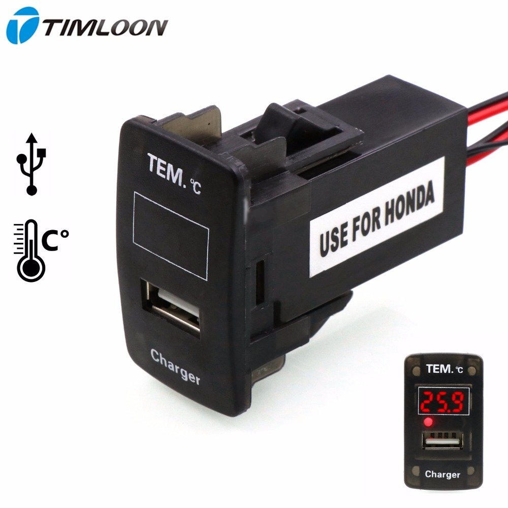 2.1A USB Interface Socket Car Charger and Indoor/Outdoor Thermometer Use for Honda,Civic,Spirior,CRV,Fit Jazz,City,Accord