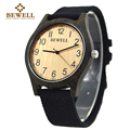 BEWELL 2017 New arrival Casual Natural Black Wood Watch With Canvas  Band for mens Gifts Simple Wooden watch With Paper Box 124B