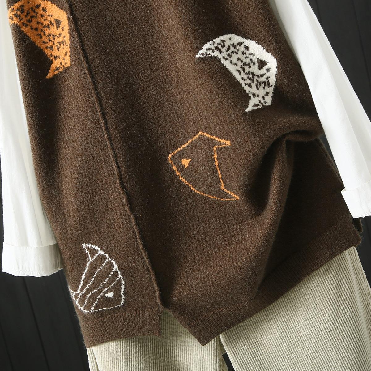 Tricot Femmes Sans Noir Manches Imprimé Café Lâche Poissons Gilet Vintage Harajuku coffee Patchwork Occasionnel Cavaliers Noir Chandail Pulls XkiTOPZu