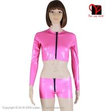 Sexy Pink Latex Jacket pants units Zipper Rubber underwear Gummi coat Fetish Bondage Crop Top Bomber Tight Hotpants Boxer