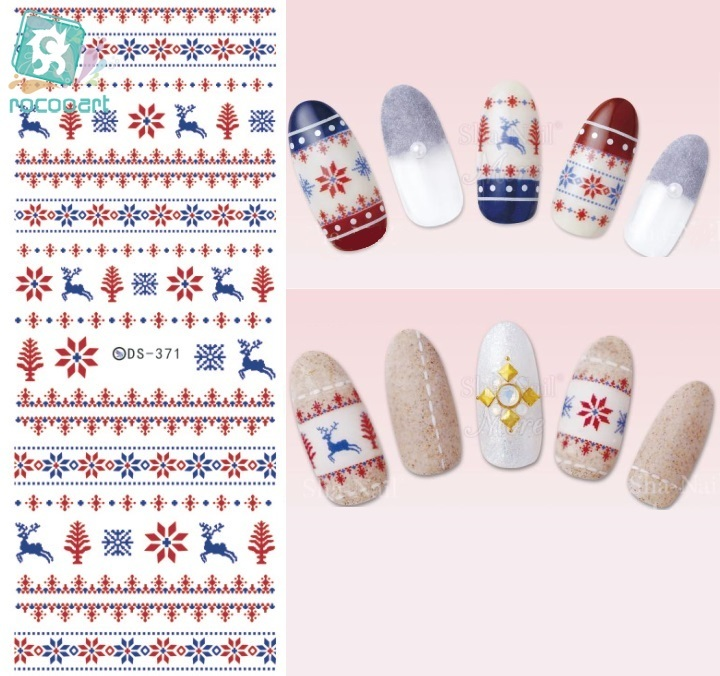Rocooart DS371-372 Water Transfer Nails Art Sticker 2017 Year Christmas Xmax Deer Harajuku Nail Wrap Sticker Manicura sticker