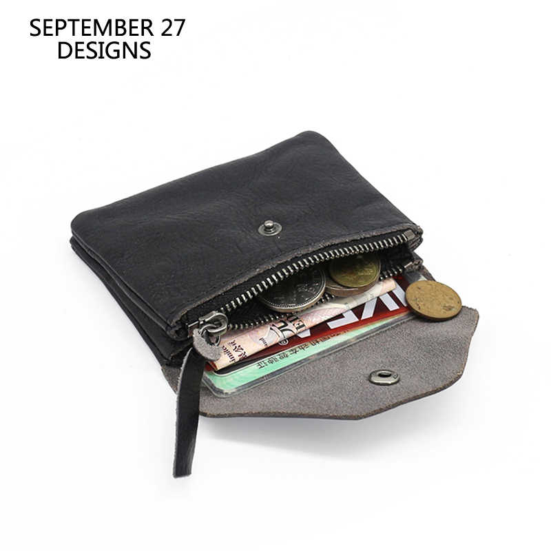 Coin Purses First Layer Leather Fashion Women Mini Wallets Real Cowhide Men Small Purses Credit Card Wallet Coin Pouch Money Bag