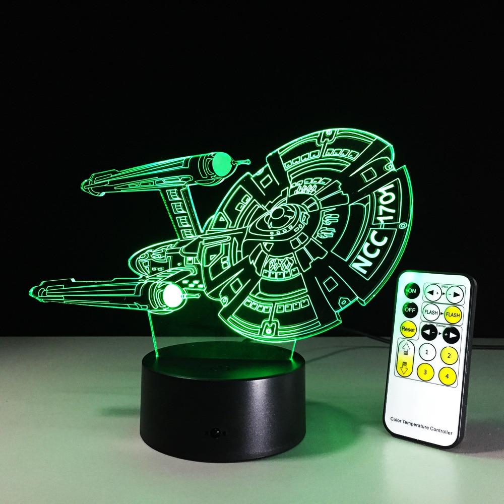 Star Trek 3D Led Night Light Lamp Spaceship 7 Color Changing Visual illusion USB LED Acrylic Lighting Star Trek Action Figure acrylic 7 color changing usb charge 3d